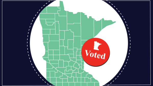 Minnesota map with I voted sticker