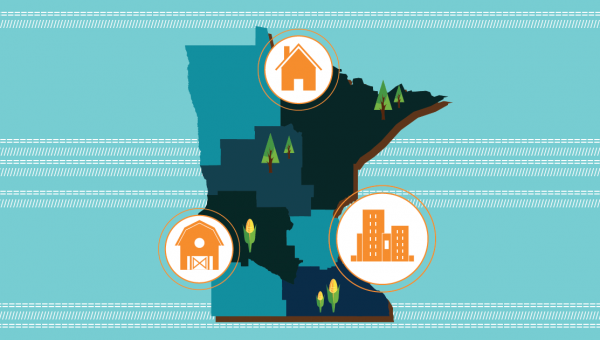 Minnesota map showing rural and urban areas